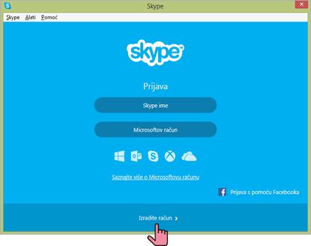 Instaliranje Skype-a - Završetak i klik na Izradite račun