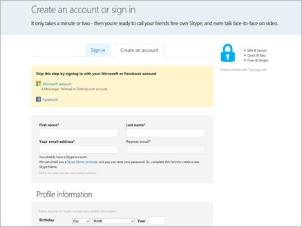 Izrada Skype računa - Unos podataka